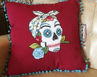 Day of the Dead Rockabilly Sugar Skull Embroidered Calavera Pillow in Maroon Red and Blue Rose