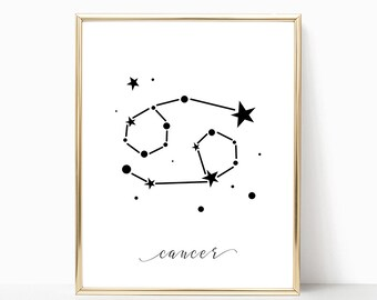 SALE -50% Cancer Zodiac Digital Print Instant Art INSTANT DOWNLOAD Printable Wall Decor