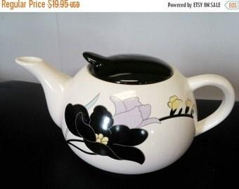 Vintage White Ceramic Tea Pot with Black Lid White Background Black  Online Vintage, vintage clothing, home accents, vintage dress