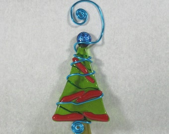 Green Fused Glass Tree Ornament with Red garland