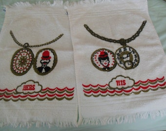 Vintage His & Hers Face Towel Set, Rhinestone Detail By Cannon