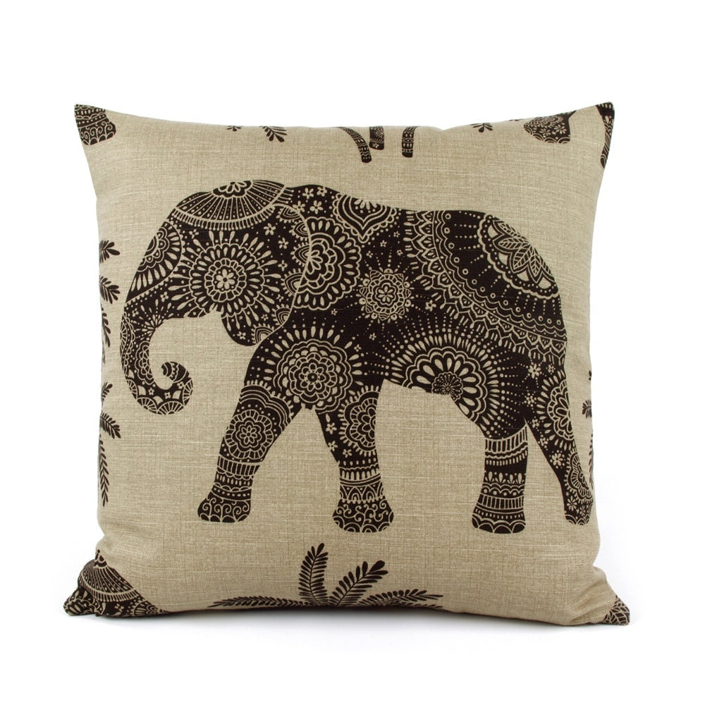 Throw Pillow Elephant : Elephant Throw Pillow Cover with Textured Woven Stripes on
