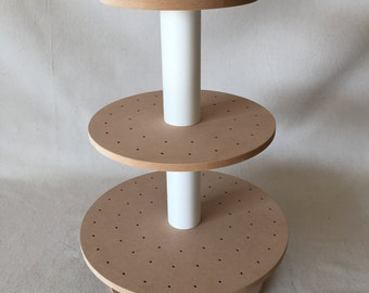 3 Tier Round Unfinished Custom Made Cake Pop Stand. Holds 106 Pops.