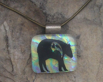 Bear Necklace Dichroic Fused Glass Bear Jewelry
