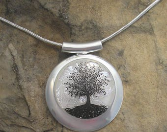 Silver Tree of Life Necklace Dichroic Fused Glass Tree Pendant