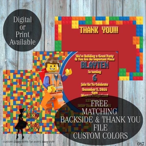 Lego Birthday Party Inviation, Lego Party Invitation, EmmetParty Inviation, Kids Birthday invite 087