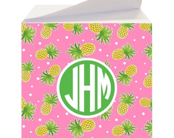 Personalized Sticky Notes, Personalized Post It Notes, Pineapple Print,  Custom Notepad, Note