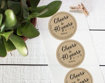 Cheers Birthday Party Favor Labels - Milestone Birthday | Milestone Party Favors | Milestone Birthday Party | 40th Birthday Party Favors