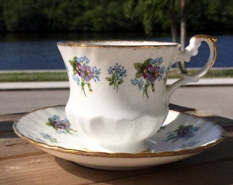 Queens Rosina Teacup, Tea Cup and Saucer, Blue and Purple Floral English Bone China 13818