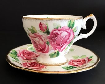 """Queen Anne Teacup, Pink Rose """"Lady Margaret"""" Vintage Cup and Saucer, English Tea 13873"""