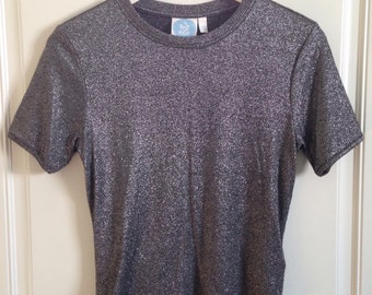 Womens vintage Top Shop charcoal grey silver glitter shimmer short sleeve tee