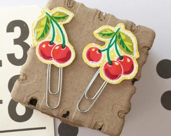 Sweet Cherry Fabric Planner Clips Set of 2 Teacher Gifts Happy Mail