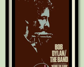 Bob Dylan Poster. Before The Flood Promo. Dylan wall art. Rock promo. Classic album poster. 70s rock poster.Dylan live poster. A2 size.