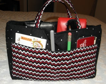 Bag Organizer Insert, Bucket Style, 18 Pockets, Travel Tote, Weekender Tote, Large Handbag, Red, Gray, Black Chevron Print, Ready to Ship