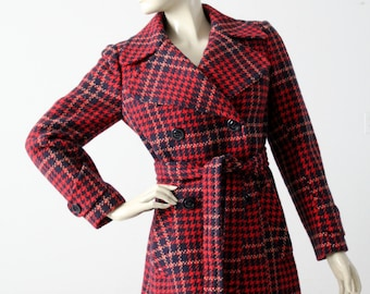 vintage plaid coat, red wool pea jacket size S