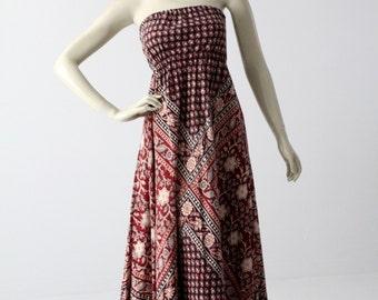 70s boho dress, strapless block print dress, hippie dress, sundress