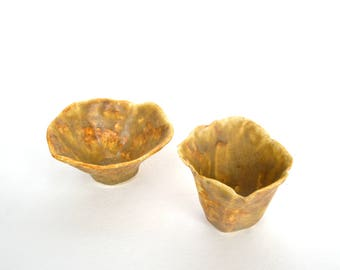 Ceramic Hand Built Pinch Pots, Set of Two