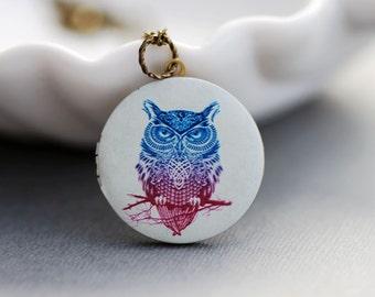 Personalized Necklace ,Personalized Locket,Brass Locket,Owl Locket,Wedding Necklace