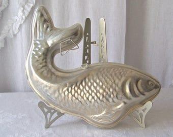 Vintage Aluminum Fish Mold Salmon Mousseline Mould 1960s