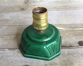 Small Vintage Ceramic Lamp - Green - 1970's