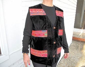 Tribal Velvet Vest, Vintage Unisex Jacket with Matching Pashtun Hand Embroidery Patches from Afghanistan