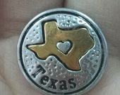 State of Texas Snap Charm Fits 18-20mm Ginger Snaps, Noosa, Magnolia & Vine, Others Free Shipping