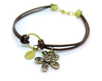 Brown Leather with Charm Gold Bracelet