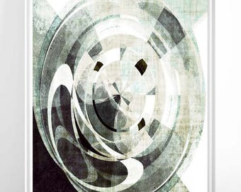 modern office art. modern mid century graphic art greenery geometric circles painting office