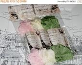 Sale Scrunched Seam Binding ribbon, Crinkled Seam Binding Packaged Pink Rose Cameo ECS