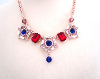 Royal Rhinestone Necklace Evening Evening Sapphire Ruby  Luxury Statement Diamond Choker Necklace Woman Jewelry Accessory Hollywood Red Blue