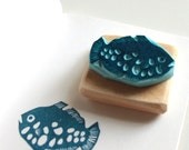 Exotic fish stamp, hand carved, wood mounted