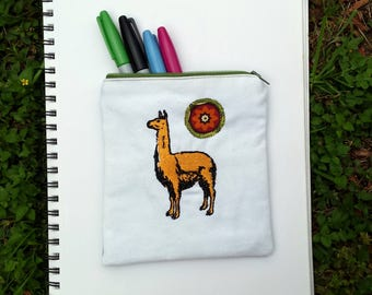 Llama Embroidered Zipper Pouch