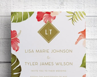 Tropical Wedding Invitations, Hawaii Wedding Invitations, Hibiscus Wedding Invitations, Hawaii, Maui Wedding, Maui Invitations, SAMPLE
