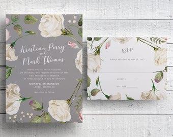 White Floral Wedding Invitation, Watercolor Floral, Garden Wedding, Outdoor Wedding, Spring Wedding