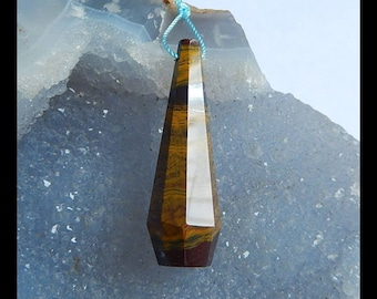 Facted  Pendant,Iron Tiger'eye Gemstone  Pendant Beads,42x13mm,7.91g(d0237)