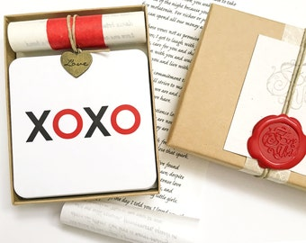 Funny gift for wife, Romantic Lover gift, Personalized love card and a set of drink coasters, XOXO Gift