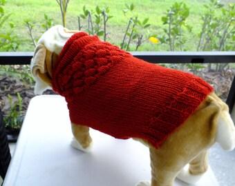 "Dog Sweater Hand Knit English Bulldog Valentine 18""  long Merino Wool"