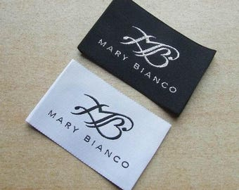 600 Custom clothing Woven Labels, apparel labels, sewing woven label tags, text only