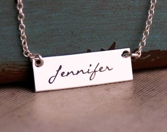 Bar Necklace / Personalized Jewelry / Hand stamped jewelry / One Name Horizontal Tag Necklace