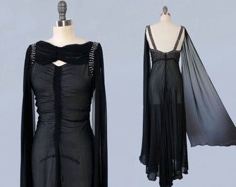 RESERVED --RARE 1930s Dress / AMAZING 30s Gown / Sheer Black Silk Chiffon / Incredible Long Sash Sleeves  / Rhinestones / Ruching