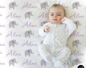 Elephant Name Blanket in purple and gray for Baby Girl, personalized baby gift,  photo prop blanket, personalized blanket, choose colors
