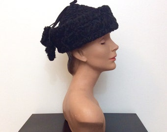 1940s 1950s Black Curly  Lamb Hat 40s 50s Tassels
