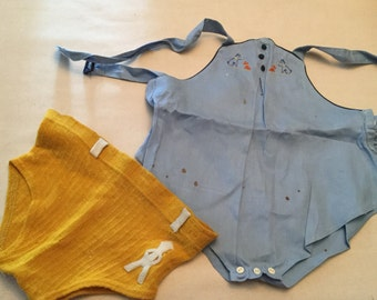 Very vintage baby clothes romper and shorts 1940s AS IS