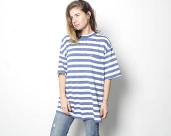 90s striped front pocket blue & white OXFORD oversize soft SPRING t shirt top button up thin soft shirt
