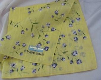 Beautiful Large Yellow Cotton Hankie - Signed 49AV Junko Shimada - New Unused