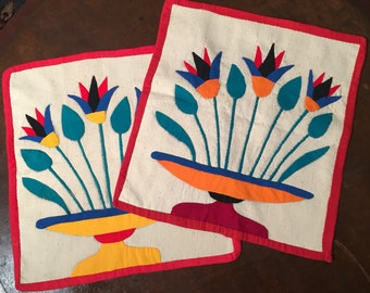Pair of Folk Art Panels from the 1970's are Hand Stitched Appliqués of Tulips in Vase , Wall Art , Bright Floral Design , Made in Egypt