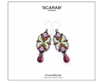 Bead pattern DIY Scarab earrings made with AVA beads, Arcos and MInos par Puca, Silky beads and seed beads