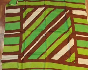 Vintage ECHO Pure Silk Scarf - Green Brown and White
