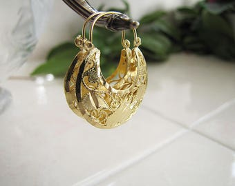 Solid 14K Gold Half Moon Hoop Earrings, Fabulous and Gorgeous