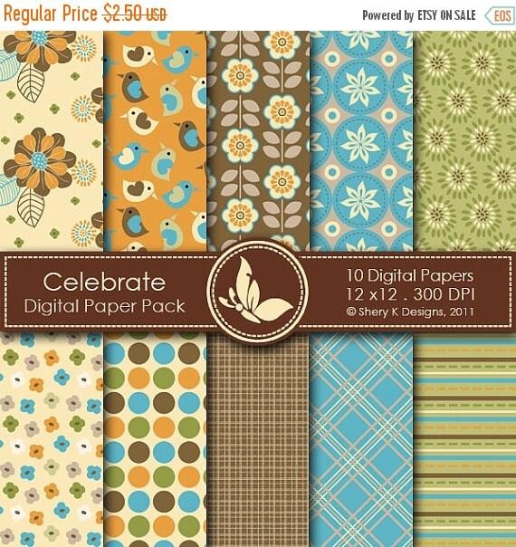 40% off Celebrate Paper Pack - 10 Digital papers - 12 x12 - 300 DPI